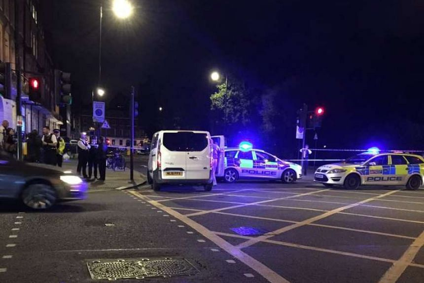 The scene at Russell Square in central London after a woman was killed and five injured in a knife incident.