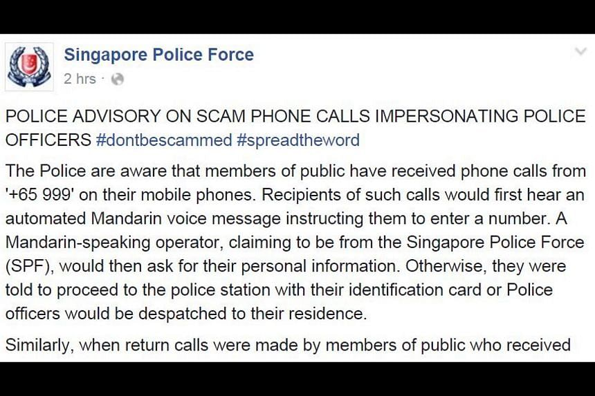 The police's Facebook advisory on scam phone calls impersonating police officers.