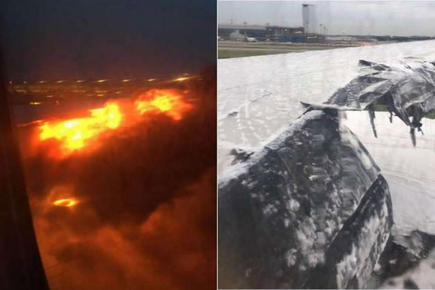 Flight SQ368, which left Changi for Milan, Italy, on June 27, turned back when the pilots received an engine oil warning. Shortly after the plane landed, its right wing (left) caught fire. The wing is covered with foam residue (right) after the blaze