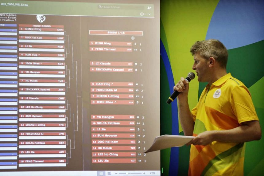 The top 16 seeds into the third round are shown on the screen during the Aug 3, 2016, draw.