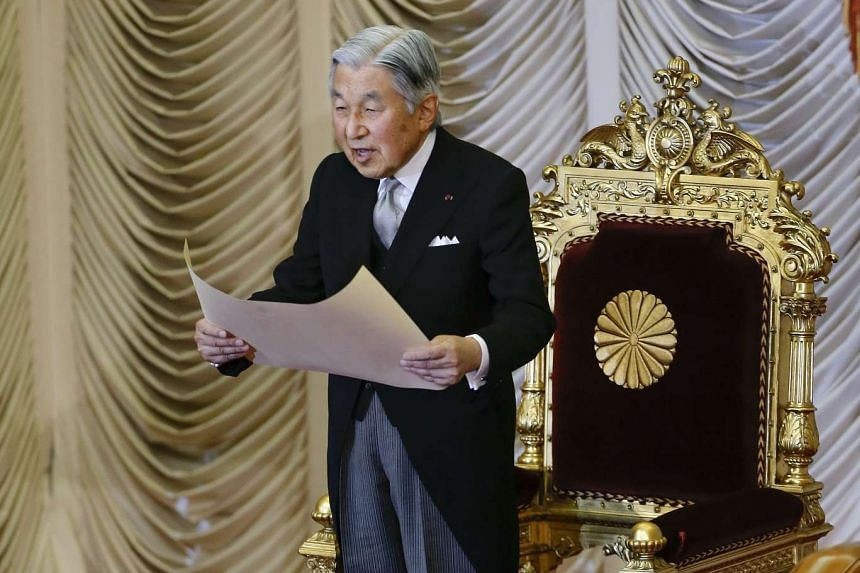 Japan's Emperor Akihito delivers a speech during the opening ceremony of the 191st extraordinary Diet session in Tokyo on Aug 1, 2016.