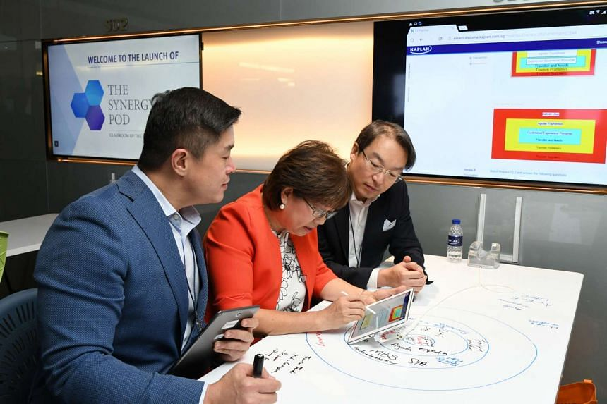 Ms Denise Phua (centre), Kaplan Singapore President Leon Choong (left) and Mr Andy Sim (right), Vice President for New Business Development at Samsung Singapore, at The Synergy Hub.