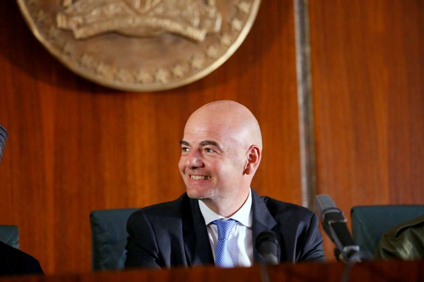 Fifa President Gianni Infantino smiles during his visit in Abuja, Nigeria on July 25, 2016.