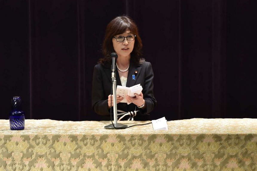Japan's new Defence Minister Tomomi Inada delivers a speech at the Defence Ministry in Tokyo on Aug 4, 2016.