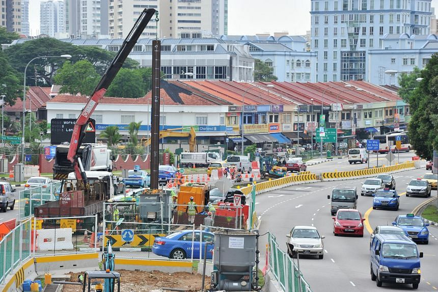 Road works being carried out along Upper Thomson Road as seen on July 9, 2014.