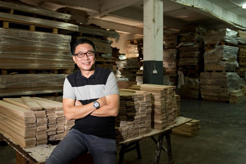 Jason Sim, founder and CEO of Jason Parquet Holdings Limited, at his warehouse facility in Tampines in November 2014.