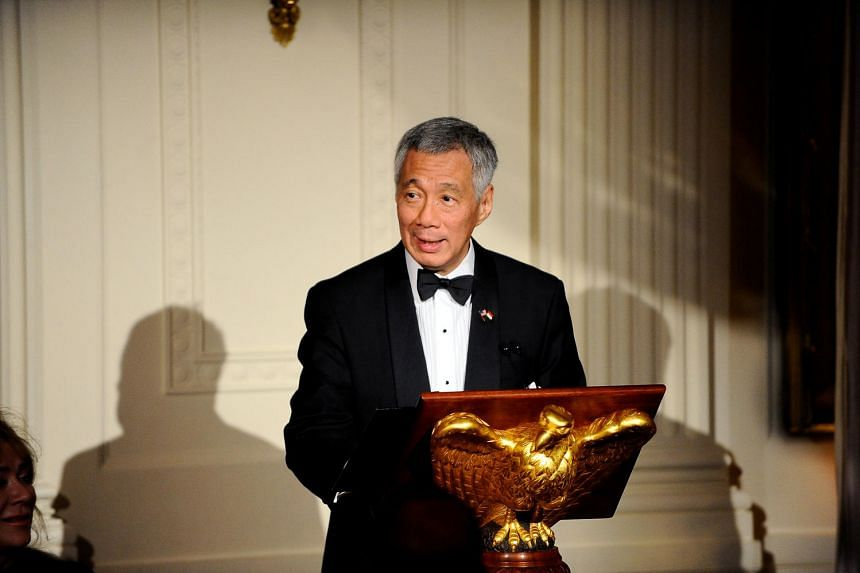 Singapore Prime Minister Lee Hsien Loong makes remarks during a State Dinner at the White House in Washington, US on Aug 2, 2016.