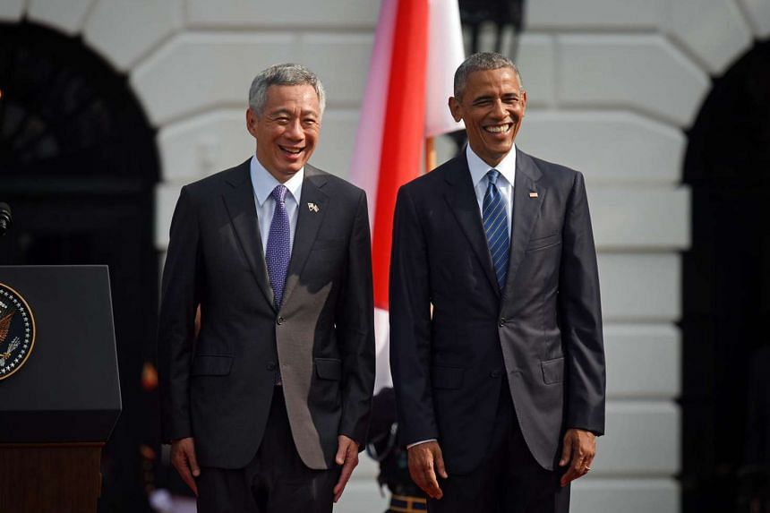 Singapore Prime Minister Lee Hsien Loong and Mrs Lee arrived at the White House on the morning of Aug 3 to a ceremony full of pomp and pageantry on the South Lawn complete with the playing of the national anthem, a gun salute, review of troops and co