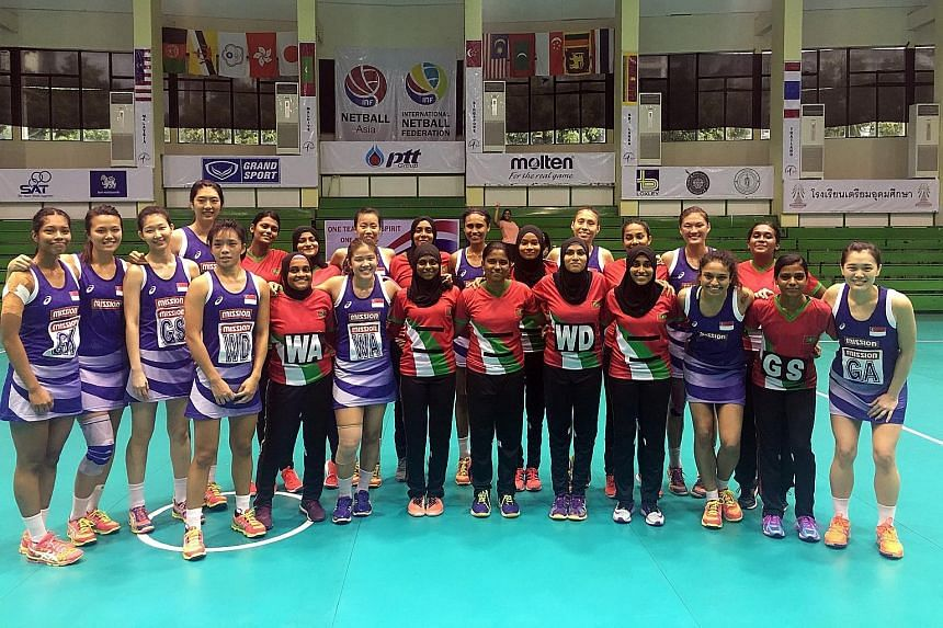 The Singapore national netball team (in purple) kept up their blistering form at the Asian Netball Championships in Bangkok yesterday, as they thrashed the Maldives 83-6 in their final group game. The defending champions finished top of Group A, and