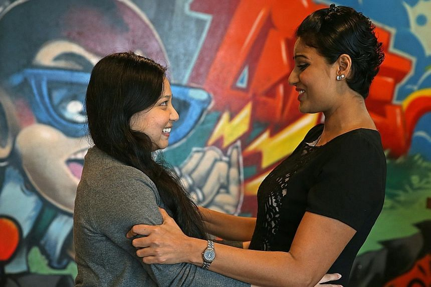 Ms Deshi (right) meeting her donor Ms Nair for the first time. She would have died six months after her diagnosis of acute myeloid leukaemia if she did not get a transplant. Now, 18 months after her diagnosis, the flight attendant is healthy and even