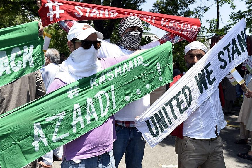 Pakistani Kashmiris protesting in Islamabad yesterday against Indian Interior Minister Rajnath Singh's visit to Pakistan. According to media reports, Mr Rajnath Singh arrived in Islamabad on Wednesday, amid protests over Indian Kashmir unrest, to att