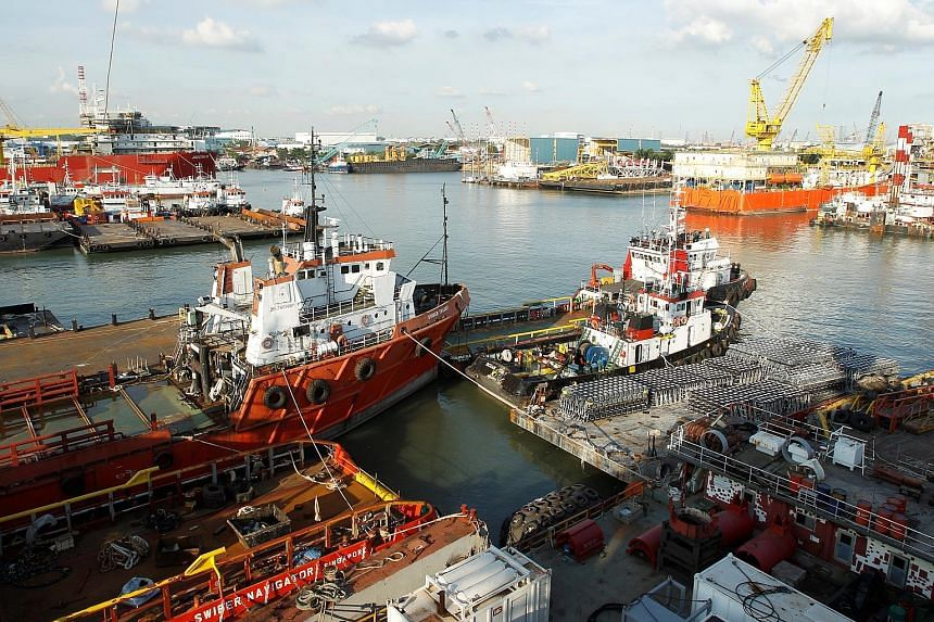 Swiber's shipyard in Singapore in 2013. DBS Bank last Friday revealed it would increase provisioning for loan losses to half of its $700 million exposure to Swiber.