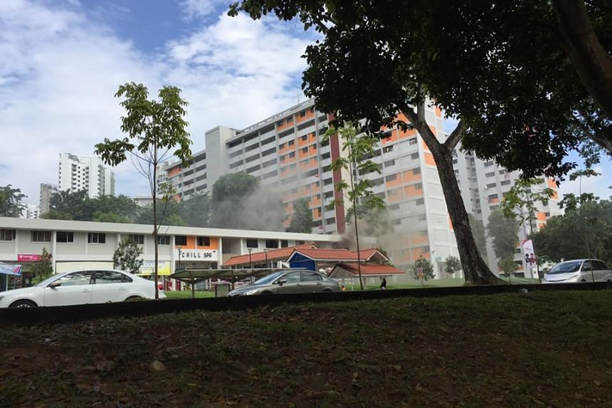 No injuries were reported from the fire at Block 574, Ang Mo Kio Avenue 10.