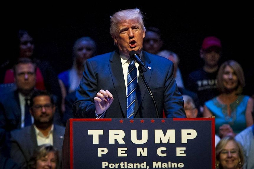 Republican Presidential candidate Donald Trump speaks at the Merrill Auditorium on August 4 in Portland, Maine.