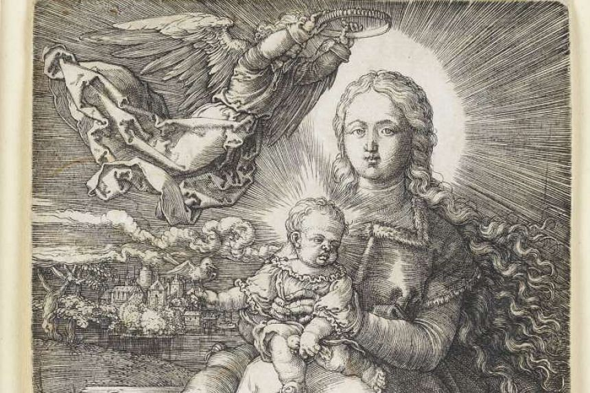 "The copperplate print ""Mary, crowned by an angel""  dated 1520 by German artist Albrecht Duerer."