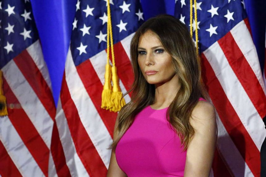 Melania Trump listening as her husband delivers remarks at Trump National Golf Club Westchester in Briarcliff Manor, New York, June 6.