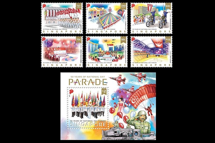 A set of stamps to commemorate 50 years of Singapore's National Day Parade (NDP) will be launched on Monday (Aug 8).