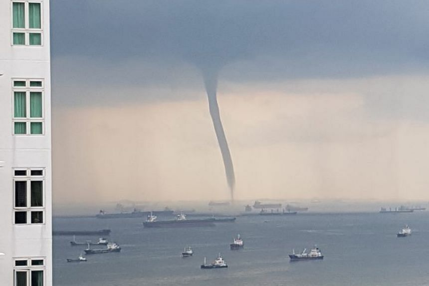 A large water spout was spotted off East Coast on Saturday.