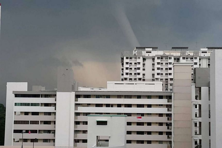 Marine Crescent resident Kenneth Ang spotted the water spout from his home.