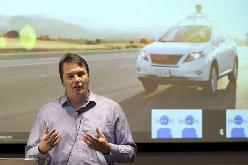 Chris Urmson, Director of the Self Driving Cars Project at Google, speaks to the media during a preview of Google's prototype autonomous vehicles in Mountain View, California.