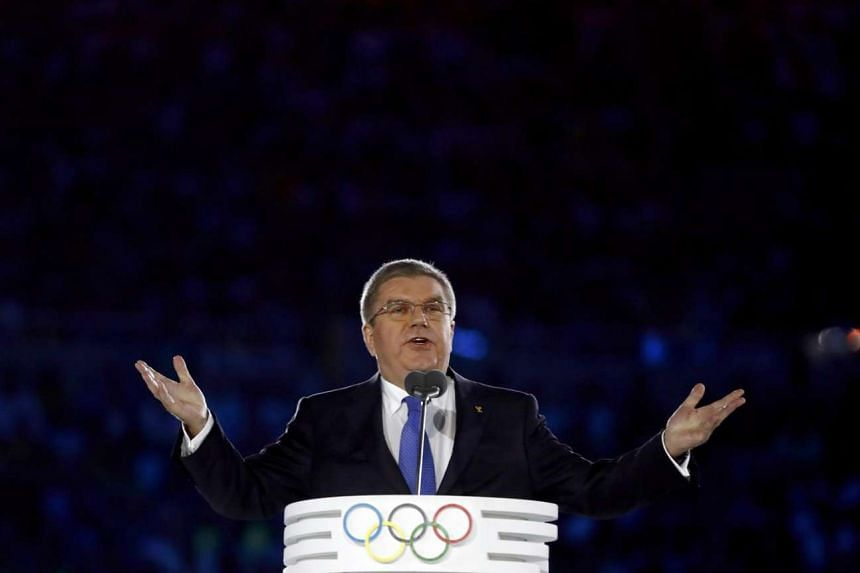 International Olympic Committee (IOC) President Thomas Bach speaks during the Opening Ceremony of the 2016 Rio Olympics.