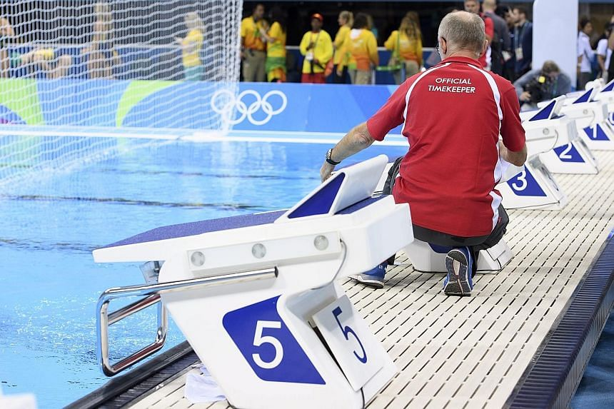 An Omega staff member at the Aquatics Centre in Rio de Janeiro on Wednesday. The Swiss company first took charge of Olympic timing requirements at the 1932 Games.