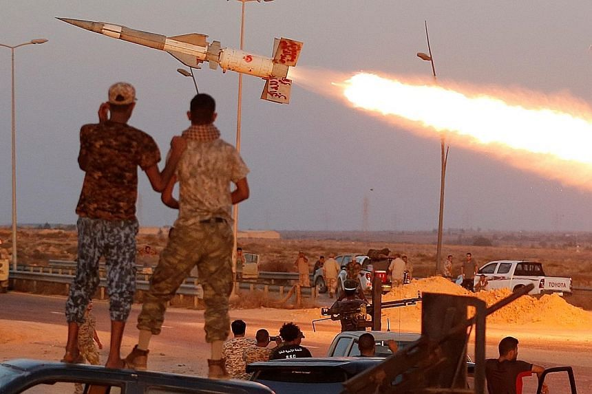 A rocket fired by Libyan forces allied with the United Nations-backed government against ISIS militants in Sirte in Libya on Thursday.