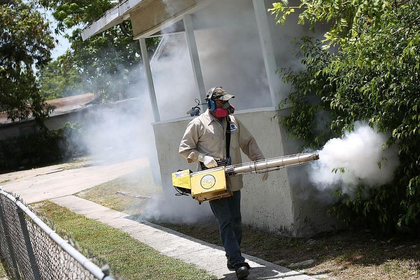 Fumigation in progress in Wynwood, a neighbourhood in Miami that is the epicentre of the first locally transmitted cases of Zika in the US - as opposed to cases stemming from travel to Zika-affected areas overseas.