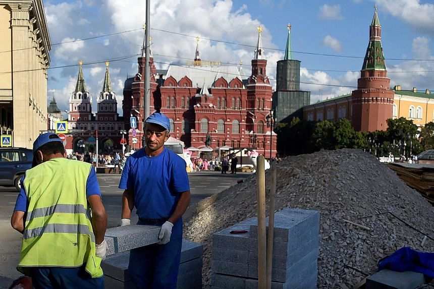 In many streets, piles of paving stones, heaps of sand and fenced-off sites make awkward obstacle courses for Muscovites - who spend half the year blanketed in snow and are keen to make the most of the summer with a stroll.