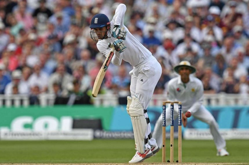 England's Alex Hales plays a shot during play on the third day of the third test cricket match between England and Pakistan at Edgbaston in Birmingham, on August 5.