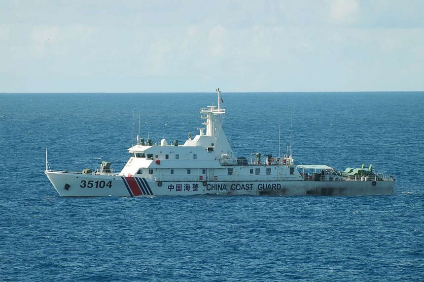 The China coast guard ship 35104 sailing near the waters of disputed East China Sea islands on Aug 6, 2016.