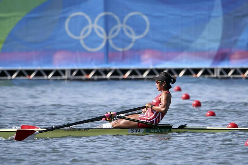National rower Saiyidah Aisyah competes in the women's single sculls race on Aug 6, 2016.