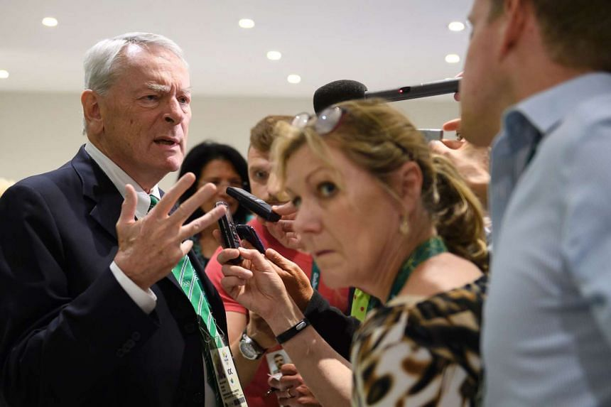 Dick Pound (left), speaking to journalists on Aug 2, 2016, ahead of the Olympic Games.