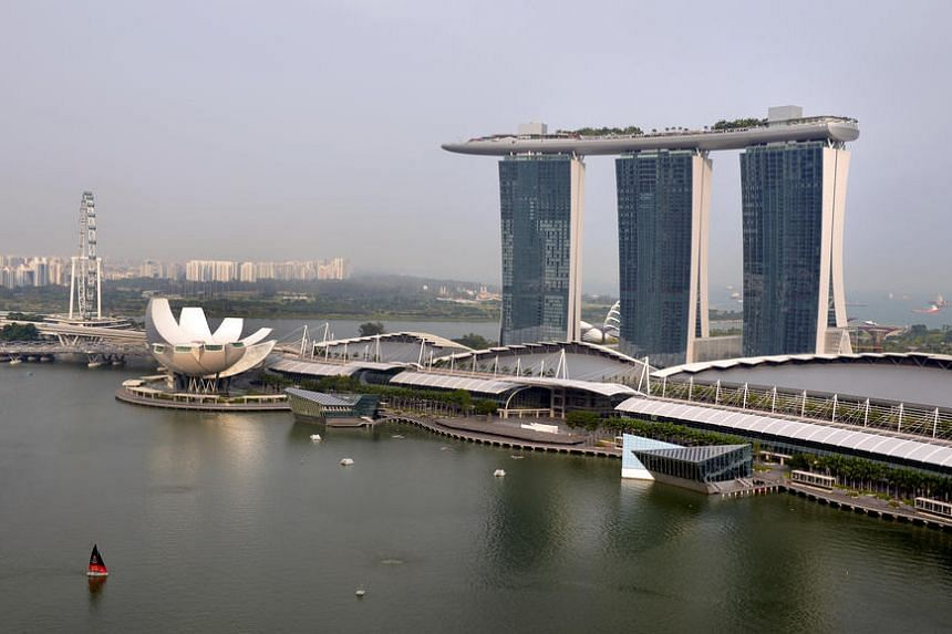 View of Marina Bay Sands (MBS) as seen from OUE Bayfront Walk on October 16, 2014.