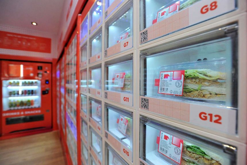 Rows of sandwiches sitting in a vending machine at VendCafe in Anchorvale.