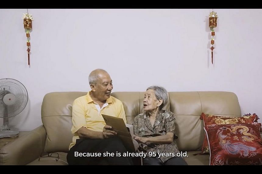 Mr Low and his mother, Madam Tan, in a video produced by the Agency for Integrated Care. It features interviews with senior citizens who prefer to age at home, in familiar surroundings, rather than in a care facility.