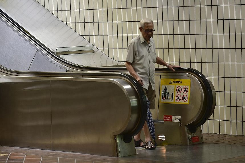 Transport experts said reducing escalator speeds would ensure the safety of groups such as the elderly and the young. SMRT said it has been testing out slower escalator speeds at selected stations since July last year.
