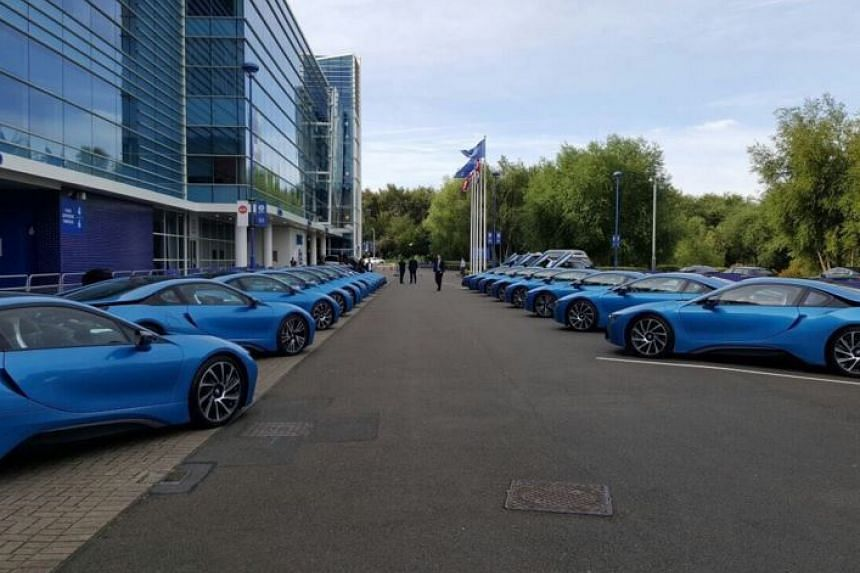 The BMW i8s lined up outside the King Power Stadium.