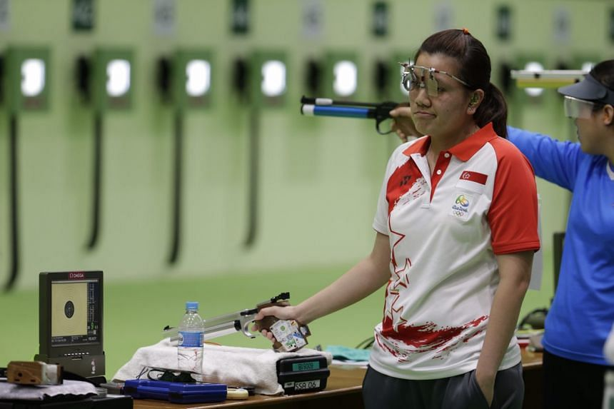 Singapore's Teo Shun Xie reacting during her 10m air pistol event, during the Olympic Games in Rio de Janeiro, on Aug 7, 2016.