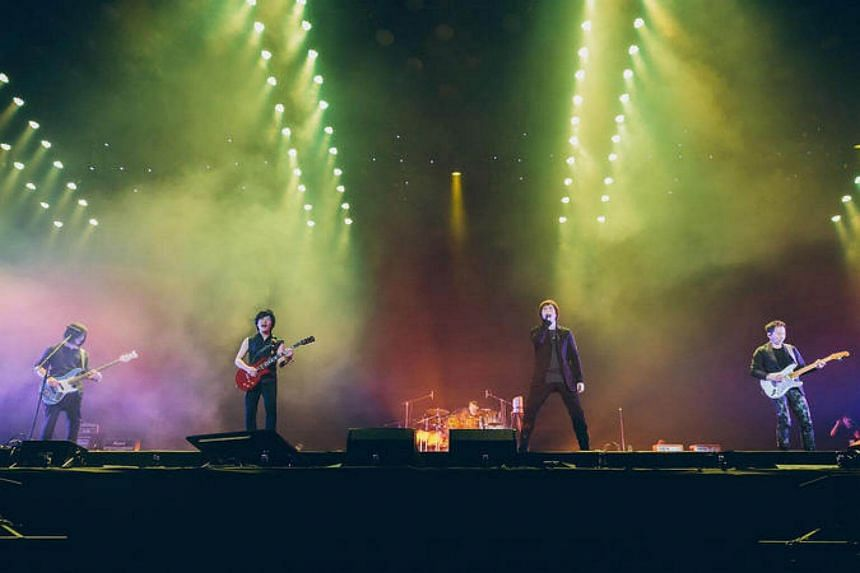 Taiwanese band Mayday at their Just Rock It concert, at the Singapore Indoor Stadium.