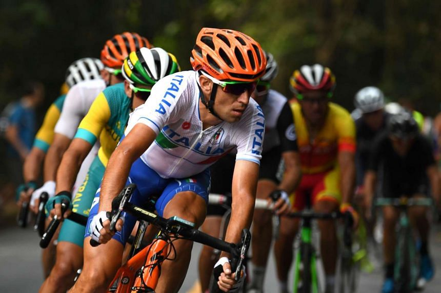 Italy's Vincenzo Nibali races during the Men's Road cycling race.