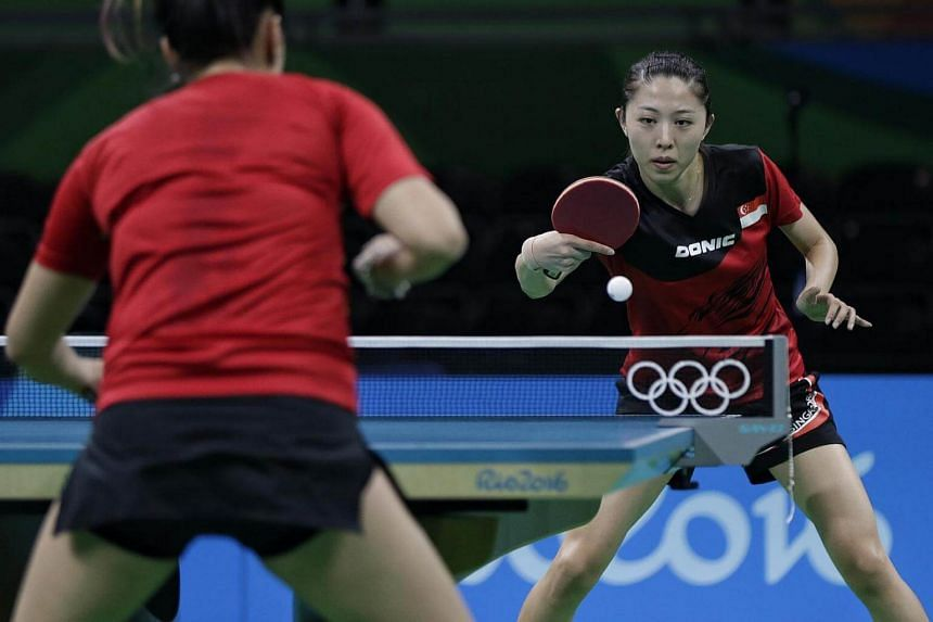 Singapore's Yu Mengyu training ahead of the women's table tennis competition at the 2016 Olympics Games in Rio de Janiero, Brazil, on August 4.