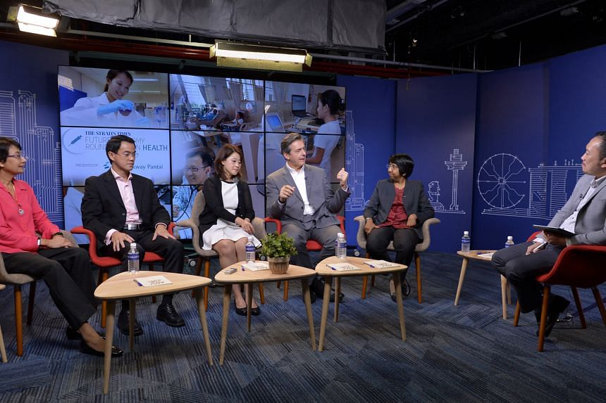 Sharing their views on healthcare issues recently were (from left) Ms Salma Khalik, ST senior health correspondent; Dr Kelvin Loh, CEO of Singapore operations division, Parkway Pantai; Ms Ng Li Lian, co-founder and director of Tetsuyu Healthcare; Mr