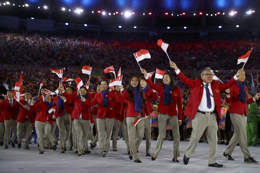 The Singapore contingent during the opening ceremony, a four-hour extravaganza.