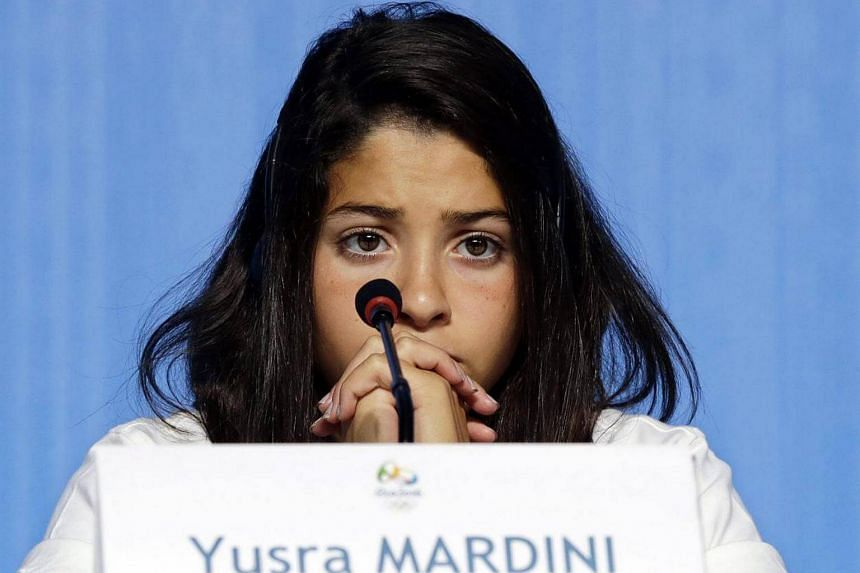 Mardini attends a press conference for the Olympic refugee team on July 30, 2016.