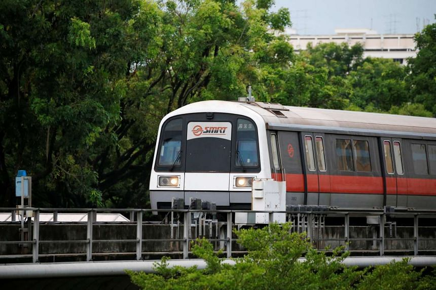 An SMRT train arrives at a station in Singapore, on July 19, 2016.