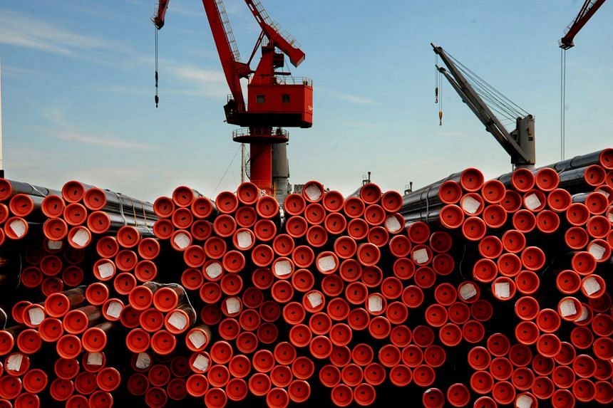 Products are placed at a port in Lianyungang, Jiangsu Province, China, May 22.