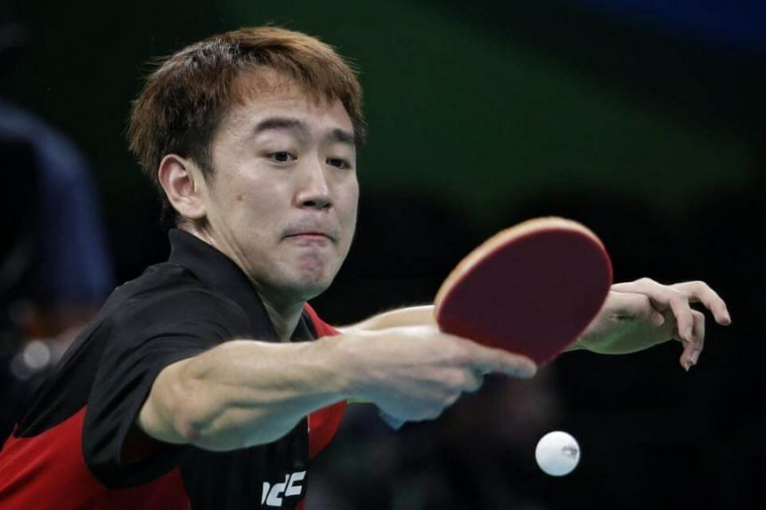 Singaporean table tennis player Chen Feng was beaten 1-4 by Finland's Benedek Olah in the first round of the men's singles.