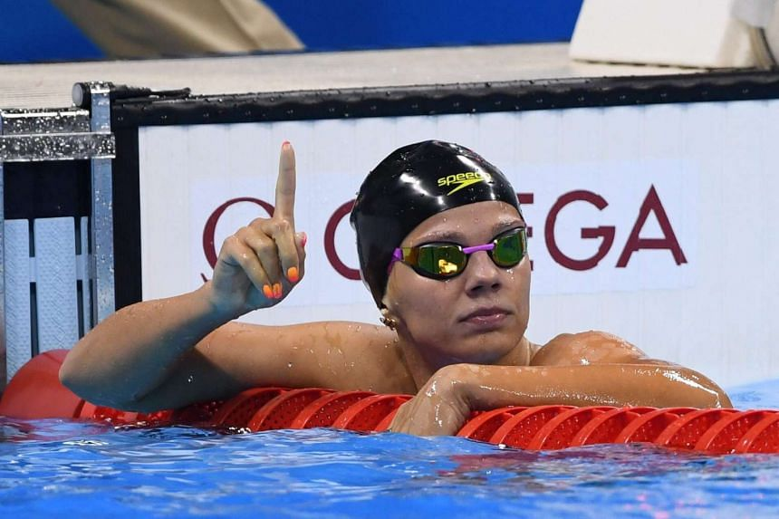 Yulia Efimova after competing in the women's 100m Breaststroke semi-final 1 at the Olympic Aquatics Stadium, on Aug 7, 2016.
