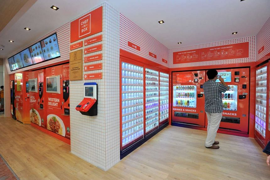 The pigeon-hole vending machines, dispensing hot, chilled and ambient products at Block 320C Anchorvale Drive, on Aug 7, 2016.